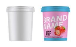realistisk plast- behållare 3d för glass, yoghurt, gräddfil, efterrätt Åtlöje upp som är klar för din design royaltyfri illustrationer