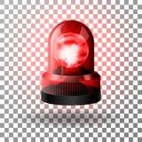 Realistisk röd blinkersiren för bilar N?d- blinkande siren royaltyfri illustrationer