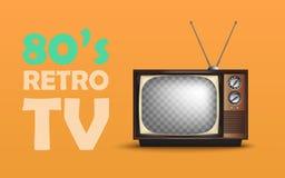 Realistisk Retro tappningTV Med text vektor vektor illustrationer