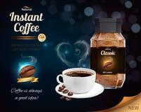 Realistisk sammansättning för ögonblickligt kaffe royaltyfri illustrationer