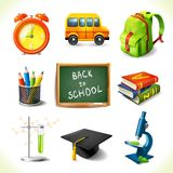 Realistisk skolutbildningsymbolsuppsättning stock illustrationer
