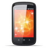 Realistisk smart telefon på en vit bakgrund Fotografering för Bildbyråer