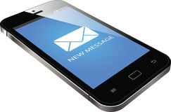 Realistisk smartphone med ny meddelandeskärm Vektor Illustrationer