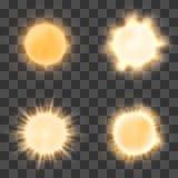 Realistisk sol på genomskinlig bakgrund Royaltyfria Bilder