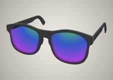 realistisk solglasögon med kulört exponeringsglas Royaltyfri Bild