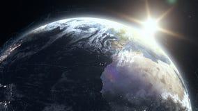 Realistisk soluppgång över planetjord med rasteringreppet för digitala data omkring royaltyfri illustrationer