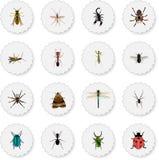 Realistisk spindeldjur, giftigt, Damselfly och andra vektorbeståndsdelar Uppsättningen av realistiska symboler för kryp inkludera Arkivfoton