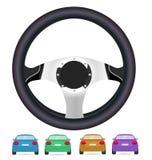 Realistisk styrninghjul och uppsättning av baksida av bilar i vektor på wh stock illustrationer