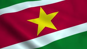 Realistisk Surinam flagga stock illustrationer