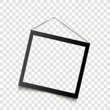 Realistisk svart ram som hänger på väggen också vektor för coreldrawillustration Arkivbilder