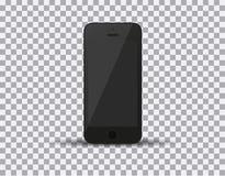 Realistisk svart smartphone i iphonestil med den tomma skärmen på vit bakgrund också vektor för coreldrawillustration Arkivfoton