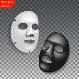 Realistisk svartvit ansikts- kosmetisk arkmaskering på genomskinlig bakgrund Royaltyfri Fotografi