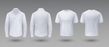 Realistisk t-skjorta och skjorta Sikt för för för vit modell isolerad mall, manlig enhetlig kläder, framdel och baksida för mella royaltyfri illustrationer