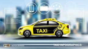 Realistisk taxibil Infographic Stads- stadsbakgrund Online-taximobil App, taxibokning, översiktsnavigeringe-kommers vektor illustrationer