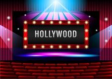 Realistisk teateretapp med det röda gardinbanret Hollywood vektor illustrationer