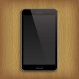 Realistisk telefon på tabellen också vektor för coreldrawillustration Royaltyfri Foto