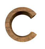 Realistisk träbokstav C som isoleras på vit bakgrund Arkivbild
