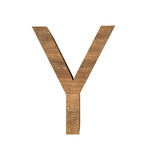 Realistisk träbokstav Y som isoleras på vit bakgrund Arkivbild
