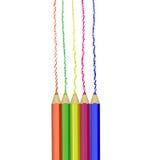 Realistisk uppsättning av färgrika kulöra blyertspennor Royaltyfri Fotografi