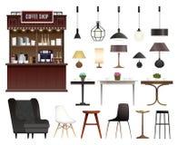 Realistisk uppsättning för coffee shop royaltyfri illustrationer