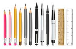 Realistisk uppsättning för penn-, blyertspenna- och linjalvektor r stock illustrationer