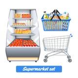 Realistisk uppsättning för supermarket Royaltyfri Foto
