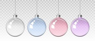 Realistisk uppsättning för vektor av bilder av genomskinliga julbollar för ett exponeringsglas stock illustrationer