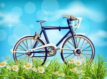 Realistisk vektor för cykelvårbakgrund säsonggräsplanäng och blå himmel Detaljerade illustrationer 3d royaltyfri illustrationer