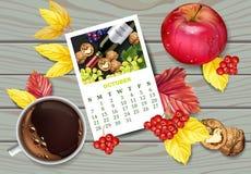 Realistisk vektor för för höstkalendersida och kopp kaffe Apple valnötter, nedgångsidor Detaljerade 3d designer, bästa sikt royaltyfri illustrationer