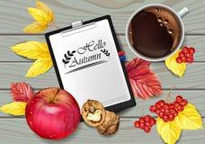 Realistisk vektor för för höstkalendersida och kopp kaffe Apple valnötter, nedgångsidor Detaljerade 3d designer, bästa sikter stock illustrationer