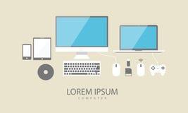 Realistisk vektorbärbar dator, minnestavladator, bildskärm och mobiltelefon Royaltyfria Bilder