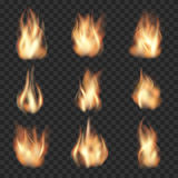 Realistisk vektorbrand flammar på rutigt Arkivbild