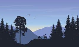 Realistisk vektorillustration av landskapet med skoganddeer Royaltyfri Bild