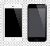 Realistisk vektormobiltelefon Smartphone modell Svartvita telefoner på genomskinlig bakgrund stock illustrationer