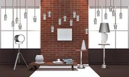 Realistisk vindinre med hängande lampor royaltyfri illustrationer