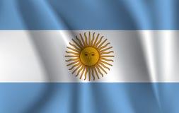 Realistisk vinkande flagga av den vinkande flaggan av Argentina, högt texturerad flödande flagga för upplösning tyg, vektor EPS10 stock illustrationer