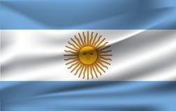 Realistisk vinkande flagga av den vinkande flaggan av Argentina, högt texturerad flödande flagga för upplösning tyg, vektor EPS10 royaltyfri illustrationer
