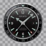 Realistisk visartavla för svart för rostfritt stål för framsida för klockaklockachronograph på rutig modellbakgrundsvektor stock illustrationer