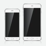 Realistisk vit mobiltelefon royaltyfria foton