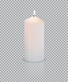 Realistisk vit stearinljus med brand på genomskinlig bakgrund vektor Arkivbild