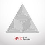 Realistisk vit triangel med den tekniskt avancerade designen för rengöringsdukutseende Grafisk form för sakral geometri Arkivfoto