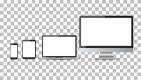 Realistiska apparatlägenhetsymboler: smartphone, minnestavla, bärbar dator och skrivbord royaltyfri illustrationer