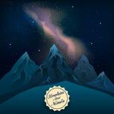 Realistiska berg på natten kan du se Vintergatanvektorn Royaltyfri Foto