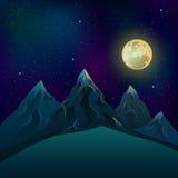 Realistiska berg på natten under en fullmåne med en stjärnaneom Arkivbild