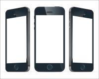Realistiska blåa mobiltelefoner Illustrationbild vektor Royaltyfri Bild