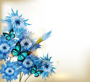 Realistiska blommor för gulliga blått stock illustrationer