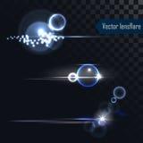 Realistiska blossar den isolerade vektorlinsen för fotoet ljus och glöd Royaltyfri Foto