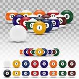 Realistiska bollar för Billiard 3D med skuggor vektor illustrationer