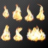 Realistiska brandflammor ställde in vektorn på genomskinlig bakgrund stock illustrationer