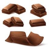 Realistiska bruna chokladstänger för vektor 3d, stycken stock illustrationer